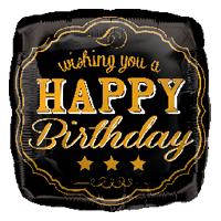 "Foil Balloon 18"" Happy Birthday - Vintage"