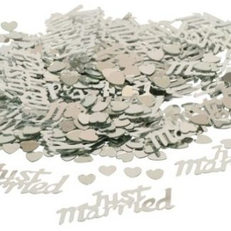 Scatter Confetti Just Married Silver