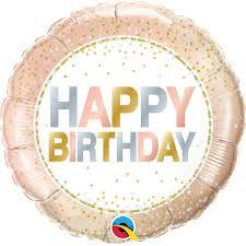 "Foil Balloon 18"" Happy Birthday - Metallic Dots"