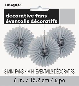 Tissue Paper Fans Silver - 3 mini fans