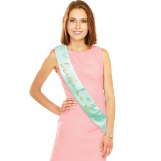 Bride to Be Sash - Mint & Gold