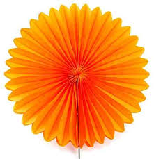 Tissue Paper Fan 25cm - Orange