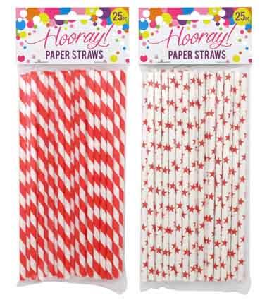 Paper Straws Red Spots or Stars