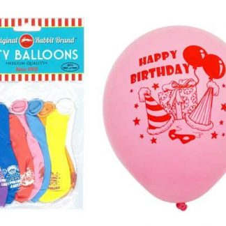 Party Balloons 8pk Happy Birthday Assorted
