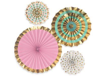 Paper Fans - 4 pack, pink, teal, gold