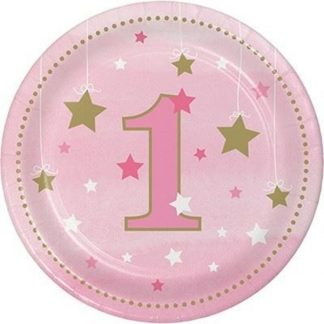 One Little Star Birthday Plates Pink - 8pk