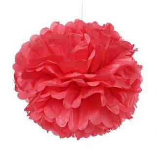 Tissue Paper Pom Pom 30cm - Coral