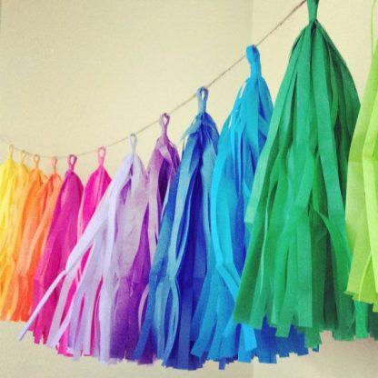 Tassel Garland Rainbow - 15 pack