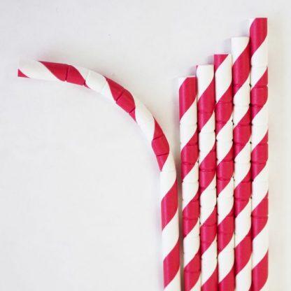 Red & White Flexi Paper Straws