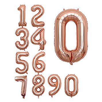 "Foil Balloon Number Rose Gold ""0"" (Uninflated)"