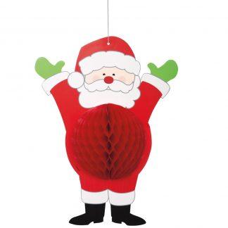 Hanging Honeycomb Santa