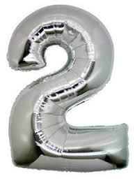 """Foil Balloon Number Silver """"2"""" (Uninflated)"""