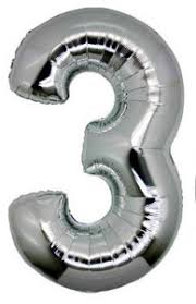 "Foil Balloon Number Silver ""3"" (Uninflated)"