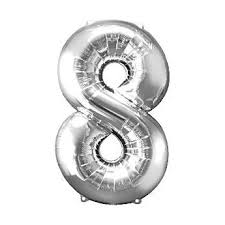 "Foil Balloon Number Silver ""8"" (Uninflated)"