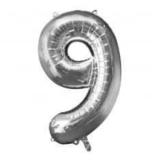 """Foil Balloon Number Silver """"9"""" (Uninflated)"""