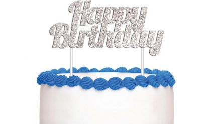 Cake Topper Happy Birthday Silver Glitter