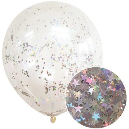 Star Glitter Balloons 3pk - Silver