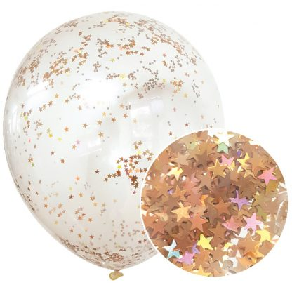Star Glitter Balloons 3pk - Rose Gold