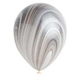 Balloon Single Black/White Marble