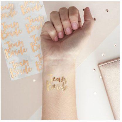 Team Bride Tattoos 16pk - Rose Gold