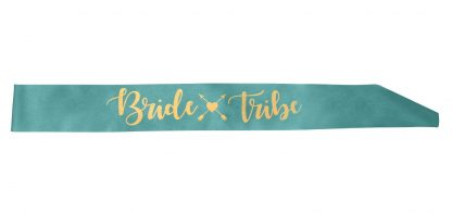 Bride Tribe Sash - Teal & Gold