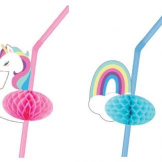 Unicorn & Rainbow Honeycomb Straws 12pk